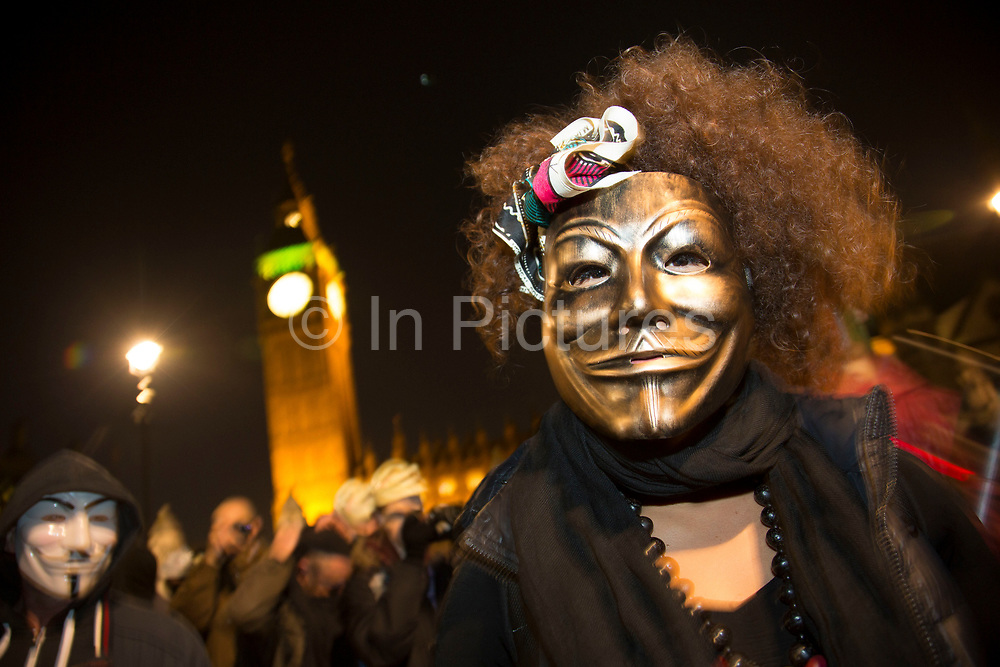 Bonfire night protest in central London by the activist group Anonymous, in a demonstration called the Million Mask March. Masked protesters created havoc as they marched on Parliament, and all over central London. The protest, which was organised in hundreds of cities, is said to be against austerity and infringement of human rights.