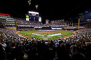A general view during the national anthem before  the first ever playoff game at Target Field between the New York Yankees and the Minnesota Twins on October 6, 2010 in Minneapolis, Minnesota.