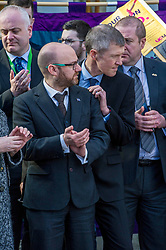 Pictured: Patrick Harvie (leader of the Scottish Greens) and Willie Rennie (Leader of the Scottish Lib Dems) were both there in support of the protesters<br /> University pensions row rally was held outside the Scottish Parliament in Edinburgh today. University staff were joined by politicians and students as part of the strike action event. <br /> <br /> Ger Harley | EEm 8 March 2018
