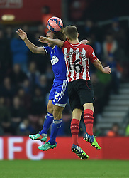 Ipswich Town's Stephen Hunt and Southampton's James Ward-Prowse jump to head the ball - Photo mandatory by-line: Paul Knight/JMP - Mobile: 07966 386802 - 04/01/2015 - SPORT - Football - Southampton - St Mary's Stadium - Southampton v Ipswich Town - FA Cup Third Round
