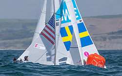 03.08.2012, Bucht von Weymouth, GBR, Olympia 2012, Segeln, im Bild MENDELBLATT Mark, Fatih Brian, (USA, Star).Loof Fredrik, Salminen Max, (SWE, Star) // during Sailing, at the 2012 Summer Olympics at Bay of Weymouth, United Kingdom on 2012/08/03. EXPA Pictures © 2012, PhotoCredit: EXPA/ Daniel Forster ***** ATTENTION for AUT, CRO, GER, FIN, NOR, NED, POL, SLO and SWE ONLY!