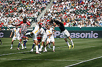 20 May 2007: Galaxy goalkeeper Joe Cannon punches the ball away from players crashing in the goal box during a 1-1 tie for MLS Chivas USA vs. Los Angeles Galaxy pro soccer teams at the Home Depot Center in Carson, CA.