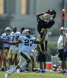 July 28, 2018 - Metairie, LA, U.S. - METAIRIE, LA. - JULY 28: New Orleans Saints wide receiver Tre'Quan Smith (10) catches a pass against defensive back Natrell Jamerson (27) during New Orleans Saints training camp practice on July 28, 2018 at the Ochsner Sports Performance Center in New Orleans, LA.  (Photo by Stephen Lew/Icon Sportswire) (Credit Image: © Stephen Lew/Icon SMI via ZUMA Press)