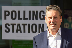 © Licensed to London News Pictures. 06/05/2021. London, UK. Labour Party Leader Sir Keir Starmer and his wife Victoria Starmer (unseen)depart the Greenwood centre after voting in the Local and Mayoral elections. Photo credit: George Cracknell Wright/LNP