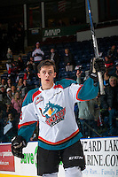 KELOWNA, CANADA - FEBRUARY 10: Leif Mattson #28 of the Kelowna Rockets salutes the crowd and accepts the second star of the game with two goals against the Vancouver Giants on February 10, 2017 at Prospera Place in Kelowna, British Columbia, Canada.  (Photo by Marissa Baecker/Shoot the Breeze)  *** Local Caption ***