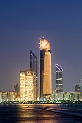 Night skyline along Corniche in Abu Dhabi in United Arab Emirates UAE
