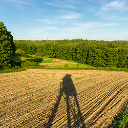 Fields and forests at the Pearl Farm in Loudon, New Hampshire. Deer stand shadow.