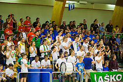Fans of KK Zlatorog during basketball match between KK Zlatorog and KK Helios Suns in 1st match of Nova KBM Slovenian Champions League Final 2015/16 on May 29, 2016  in Dvorana Zlatorog, Lasko, Slovenia.  Photo by Ziga Zupan / Sportida