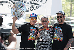 Shige Suganuma received the Honored Guest award from promoters Grant Peterson and Mike Davis at the Born Free chopper show. Silverado, CA. USA. Sunday June 24, 2018. Photography ©2018 Michael Lichter.