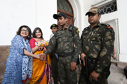 August 7, 2017 - Kolkata, West Bengal, India - Indian Political Party Trinamool Congress MLA and Actress Debashree Roy along Vaishali Dalmiya MLA and Dughter of Late Jagmohan Dalmiya  tying a Rakhi on the wrist of a Indian Commandos on Raksha Bandhan at The West Bengal Legislative Assembly   on August 07,2017 in Kolkata,India. (Credit Image: © Debajyoti Chakraborty/NurPhoto via ZUMA Press)