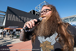 Master of ceremonies Dumptruck Stroupe at the Harley-Davidson Museum, where the multi-acre campus acted as the central rally point during the Harley-Davidson 115th Anniversary Celebration event. Milwaukee, WI. USA. Thursday August 30, 2018. Photography ©2018 Michael Lichter.