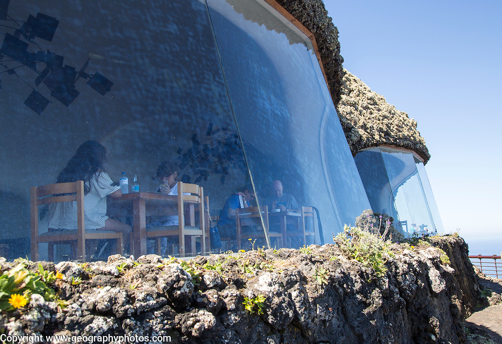 Cafe inside Mirador del Rio designed by Cesar Manrique, Lanzarote, Canary Islands, Spain