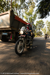 Danita Gayle riding a Royal Enfield Himalayan on Motorcycle Sherpa's Ride to the Heavens motorcycle adventure in the Himalayas of Nepal. Riding from Chitwan to Daman. Tuesday, November 12, 2019. Photography ©2019 Michael Lichter.