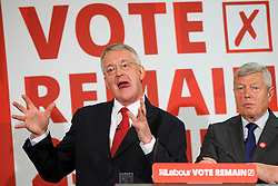 © Licensed to London News Pictures. 13/06/2016. London, UK. Shadow Foreign Secretary HILARY BENN and Chairman of Labour IN campaign ALAN JOHNSON deliver a speeches to make a case for remaining in the European Union on Monday, 13 June 2016. Photo credit: Tolga Akmen/LNP