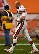 MORNING JOURNAL/DAVID RICHARD.Cleveland quarterback Trent Dilfer walks off the field after yesterday's loss to the Lions.