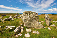 Prehistoric Steinacleit Standing Stones, with a stone circle of a burial mount, date unknown but anywhere between 1500-3000BC, Lewis, Outer Hebrides, Scotland .<br /> <br /> Visit our SCOTLAND HISTORIC PLACXES PHOTO COLLECTIONS for more photos to download or buy as wall art prints https://funkystock.photoshelter.com/gallery-collection/Images-of-Scotland-Scotish-Historic-Places-Pictures-Photos/C0000eJg00xiv_iQ<br /> '<br /> Visit our PREHISTORIC PLACES PHOTO COLLECTIONS for more  photos to download or buy as prints https://funkystock.photoshelter.com/gallery-collection/Prehistoric-Neolithic-Sites-Art-Artefacts-Pictures-Photos/C0000tfxw63zrUT4