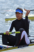 Reading. United Kingdom.  GBR W2-, stroke, Donna ETIEBET, boating for the semi final A/B,    2014 Senior GB Rowing Trails, Redgrave and Pinsent Rowing Lake. Caversham.<br /> <br /> 14:17:46  Saturday  19/04/2014<br /> <br />  [Mandatory Credit: Peter Spurrier/Intersport<br /> Images]
