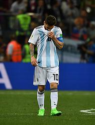 NIZHNY NOVGOROD, June 21, 2018  Lionel Messi of Argentina reacts during the 2018 FIFA World Cup Group D match between Argentina and Croatia in Nizhny Novgorod, Russia, June 21, 2018. (Credit Image: © Li Ga/Xinhua via ZUMA Wire)