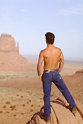 Shirtless man in jeans looking at a Southwest Landscape