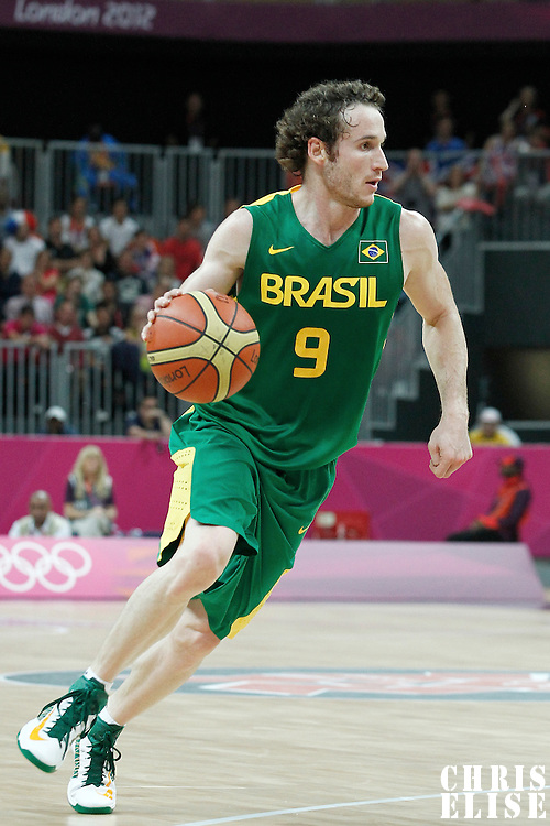 31 July 2012: Brazil Marcelinho Huertas dribbles during 67-62 Team Brazil victory over Team Great Britain, during the men's basketball preliminary, at the Basketball Arena, in London, Great Britain.