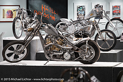 "Dalton Walker's Petruzzi Knucklehead in Michael Lichter's Motorcycles as Art annual exhibition titled ""The Naked Truth"" at the Buffalo Chip Gallery during the 75th Annual Sturgis Black Hills Motorcycle Rally.  SD, USA.  August 4, 2015.  Photography ©2015 Michael Lichter."