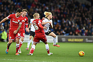 Rotherham's Ben Pringle ® is fouled by Cardiff city's Matthew Connolly. Skybet football league championship match, Cardiff city v Rotherham Utd at the Cardiff city stadium in Cardiff, South Wales on Saturday 6th December 2014<br /> pic by Andrew Orchard, Andrew Orchard sports photography.