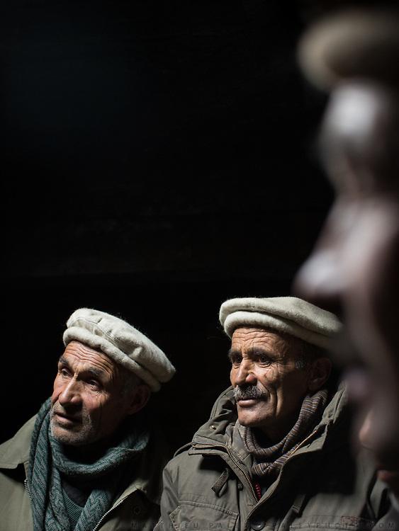 Wakhi men. Shimshali men, Ghulam Rasul, Farzar Khan and Chiragh u Din. In Shimshal, one of the remotest village in the Karakoram mountains, and the highest settlement in the Hunza and Gojal region.