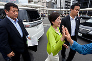 Tokyo Governor, Yuriko Koike greets the crowd of supporters as she campaigns in support of candidates from her newly established Tomin First no Kai (Tokyoites First) party, in Nakano,Tokyo, Japan. Friday June 30th 2017.  The popular female Governor's party is fielding around 40, mostly young candidates hoping to lessen the power of the ruling Liberal Democratic Party (LDP) in the capital.
