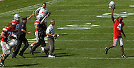 MORNING JOURNAL/DAVID RICHARD<br />Ohio State's Santonio Holmes, right, and head coach Jim Tressel, second from right, run to the middle of the field after the Buckeyes' season-opening win over Miami yesterday in Columbus.