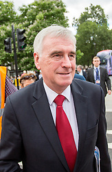 © Licensed to London News Pictures. 05/07/2016. London, UK. Shadow Chancellor JOHN MCDONNELL MP leaves the The National Union of Teachers strike and demonstration Central London. Photo credit : Tom Nicholson/LNP