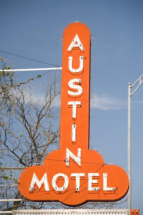 Austin Motel sign during SXSW Music Festival, Austin, Texas