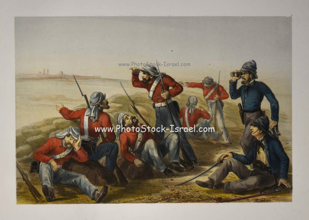 The outlying Picket Lithograph from the book Campaign in India 1857-58 Illustrating the military operations before Delhi ; 26 Hand coloured Lithographed plates. by George Francklin Atkinson Published by Day & Son Lithographers to the Queen in 1859