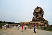 CHUZHOU, CHINA - SEPTEMBER 13: (CHINA OUT) <br /> <br /> Replica Of Sphinx In Chuzhou Opens Its Inertial Scenery<br /> <br /> Workers make sculptures inside the replica of the Sphinx at the Film and Animation Tourism Creativity Park on September 13, 2015 in Chuzhou, Anhui Province of China. The replica of the Sphinx at the Film and Animation Tourism Creativity Park in Chuzhou would show its inertial scenery to public in November.<br /> ©Exclusivepix Media