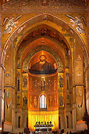 Main Isle and altar wioth Byzantine mosaics  in the Cathedral of Monreale - Palermo - Sicily Pictures, photos, images & fotos photography .<br /> <br /> If you prefer you can also buy from our ALAMY PHOTO LIBRARY  Collection visit : https://www.alamy.com/portfolio/paul-williams-funkystock/monrealeduomomosaics.html. Refine search by adding subject etc  into the LOWER SEARCH WITHIN GALLERY box. <br /> <br /> Visit our BYZANTINE MOSAIC PHOTO COLLECTION for more   photos  to download or buy as prints https://funkystock.photoshelter.com/gallery-collection/Roman-Byzantine-Art-Artefacts-Antiquities-Historic-Sites-Pictures-Images-of/C0000lW_87AclrOk