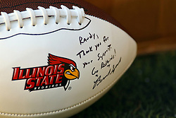 15 October 2016:  Complementary autographed football to Randy from Brock Spack. NCAA FCS Football game between Southern Illinois Salukis and Illinois State Redbirds at Hancock Stadium in Normal IL (Photo by Alan Look)
