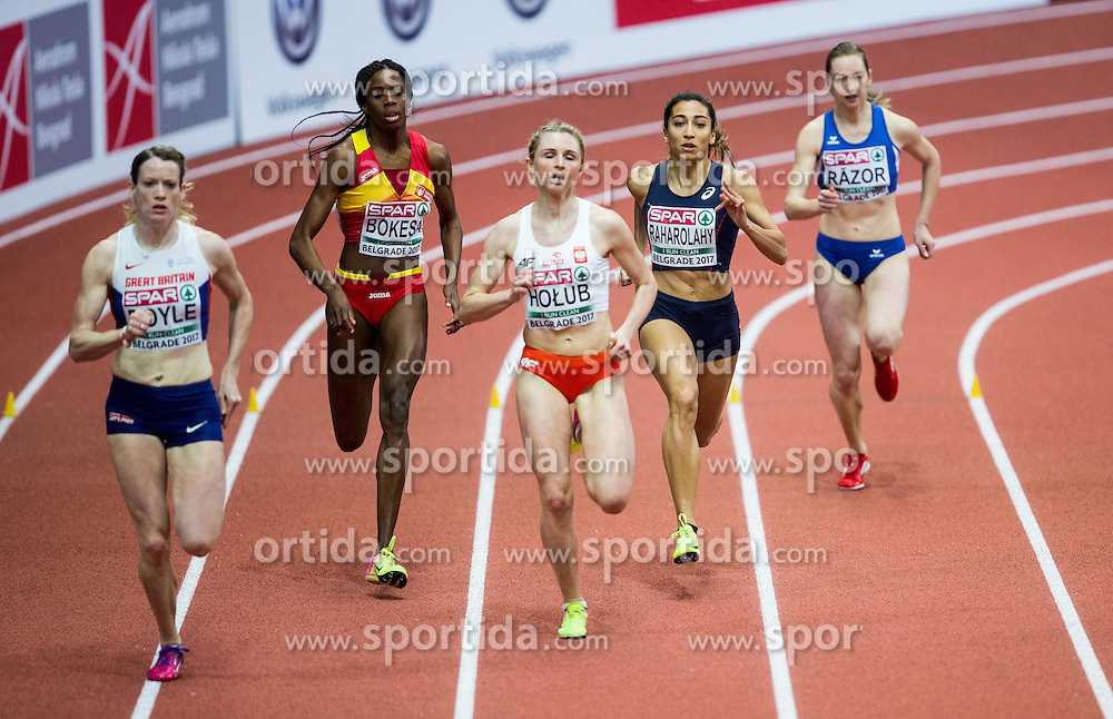 Eilidh Doyle of Great Britain, Lorena Aauri Bokesa of Spain, Malgorzata Holub of Poland, Agnes Raharolahy of France and Bianca Razor of Romania compete in the Women's 400 metres heats on day one of the 2017 European Athletics Indoor Championships at the Kombank Arena on March 3, 2017 in Belgrade, Serbia. Photo by Vid Ponikvar / Sportida