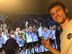 """Thomas Mueller releases a photo on Twitter with the following caption: """"""""Überragende Leistung, Männer! #CHIGER #DieMannschaft #ConfedCup2017 #esmuellert #DFB"""""""". Photo Credit: Twitter *** No USA Distribution *** For Editorial Use Only *** Not to be Published in Books or Photo Books ***  Please note: Fees charged by the agency are for the agency's services only, and do not, nor are they intended to, convey to the user any ownership of Copyright or License in the material. The agency does not claim any ownership including but not limited to Copyright or License in the attached material. By publishing this material you expressly agree to indemnify and to hold the agency and its directors, shareholders and employees harmless from any loss, claims, damages, demands, expenses (including legal fees), or any causes of action or allegation against the agency arising out of or connected in any way with publication of the material."""