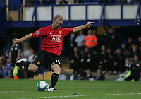 Photo: Lee Earle.<br /> Portsmouth v Manchester United. The FA Barclays Premiership. 15/08/2007.United's Paul Scholes scores the opening goal.