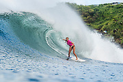 Lakey Peterson of the USA advances directly to Round Three of the 2017 Maui Women's Pro after winning Heat 6 of Round One at Honolua Bay, Maui, Hawaii, USA.