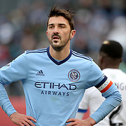NEW YORK, NEW YORK - March 18: David Villa #7 of New York City FC during the New York City FC Vs Montreal Impact regular season MLS game at Yankee Stadium on March 18, 2017 in New York City. (Photo by Tim Clayton/Corbis via Getty Images)