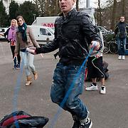 Daniel Quinten (Dan) Karaty (New York, 1 oktober 1976) is een Amerikaanse televisiepersoonlijkheid, danser en choreograaf. Karaty is  jurylid in de Canadese, Australische en de Nederlandse versie van So You Think You Can Dance. .In 2010  is hij te zien als jurylid van het RTL 4-programma Holland's Got Talent. Ook werkt hij als coach en jurylid mee aan het programma The Ultimate Dance Battle..Karaty woont afwisselend in Nederland en de Verenigde Staten. Hij is getrouwd en werd in 2011 vader van een dochter. Dan gefotografeerd in het Vondelpark te Amsterdam waar hij een workout springtouwen gaf. Foto JOVIP/JOHN VAN IPEREN