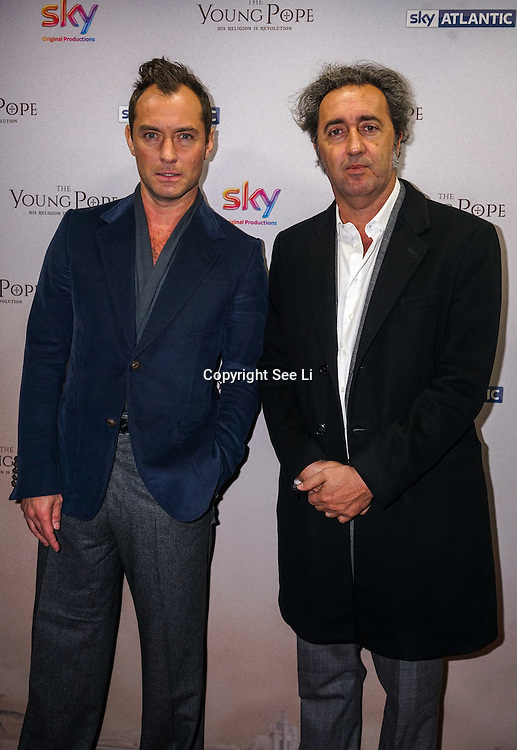 London, England,UK. 13th Oct 2016: Jude Law and series creator Paolo Sorrentino at the UK premiere of The Young Pope, starting 27 October exclusively on Sky Atlantic at Corinthia Hotel London, UK. Photo by See Li