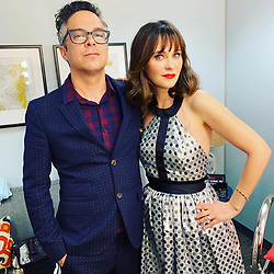 """Zooey Deschanel releases a photo on Instagram with the following caption: """"She \u0026 Him are playing Christmas music on the @j_corden show tonight!"""". Photo Credit: Instagram *** No USA Distribution *** For Editorial Use Only *** Not to be Published in Books or Photo Books ***  Please note: Fees charged by the agency are for the agency's services only, and do not, nor are they intended to, convey to the user any ownership of Copyright or License in the material. The agency does not claim any ownership including but not limited to Copyright or License in the attached material. By publishing this material you expressly agree to indemnify and to hold the agency and its directors, shareholders and employees harmless from any loss, claims, damages, demands, expenses (including legal fees), or any causes of action or allegation against the agency arising out of or connected in any way with publication of the material."""