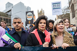 © Licensed to London News Pictures. 04/03/2018. London, UK. Bianca Jagger (centre) and Mayor of London Sadiq Khan (L) lead March 4 Women through central London, ahead of International Women's Day, to mark the centenary of the Representation of the People's Act 1918 by retracing the steps of the Suffragettes from Parliament to Trafalgar Square. Photo credit: Rob Pinney/LNP