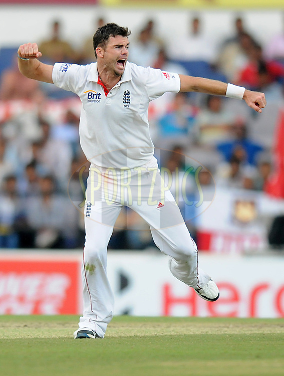 James Anderson of England celebrates as he appeals successfully for the wicket of Ravindra Jadeja of India during day three of the 4th Airtel Test Match between India and England held at VCA ground in Nagpur on the 15th December 2012..Photo by  Pal Pillai/BCCI/SPORTZPICS .