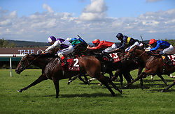 Breton Rock ridden by jockey Andrea Atzeni (left) on the way to winning the Qatar Lennox Stakes during day one of the Qatar Goodwood Festival at Goodwood Racecourse. PRESS ASSOCIATION Photo. Picture date: Tuesday August 1, 2017. See PA story RACING Goodwood. Photo credit should read: John Walton/PA Wire