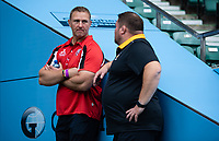 Football - 2019 / 2020 Gallagher Premiership Rugby - New Season Launch Media Photocall<br /> <br /> Gloucester Rugby's Johan Ackermann in discussion with Wasps' Director of Rugby Dai Young, at Twickenham.<br /> <br /> COLORSPORT/ASHLEY WESTERN