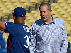 June 24, 2017 - Los Angeles, California, U.S. - Los Angeles Dodgers manager Dave Roberts (30) talks with Los Angeles Dodgers executive vice president and chief marketing officer prior to a Major League baseball game between the Colorado Rockies and the Los Angeles Dodgers at Dodger Stadium on Saturday, June 24, 2017 in Los Angeles. Los Angeles. (Photo by Keith Birmingham, Pasadena Star-News/SCNG) (Credit Image: © San Gabriel Valley Tribune via ZUMA Wire)