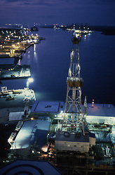Stock photo of stacked offshore drilling rigs in Sabine Pass,Texas