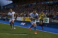 Stuart Hogg of Glasgow Warriors runs in to score his teams 1st try. Guinness Pro12 rugby match, Cardiff Blues v Glasgow Warriors Rugby at the Cardiff Arms Park in Cardiff, South Wales on Friday 16th September 2016.<br /> pic by Andrew Orchard, Andrew Orchard sports photography.